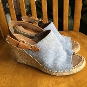 TOMS Monica Chambray and leather espadrilles